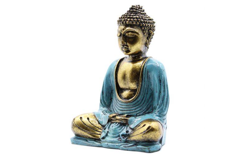 Statuetka Buddy Złoto - turkusowa