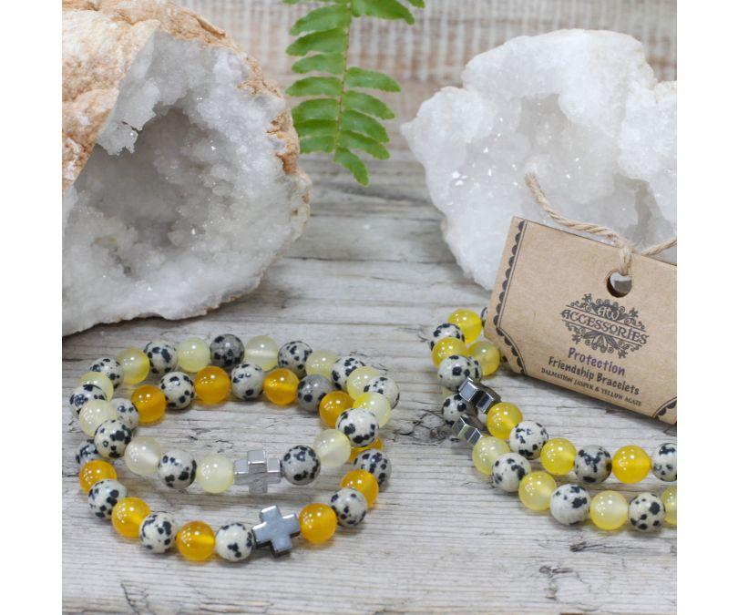 Bransoletki Ochrona - Jasper dalmatyńczyk, żółty agat