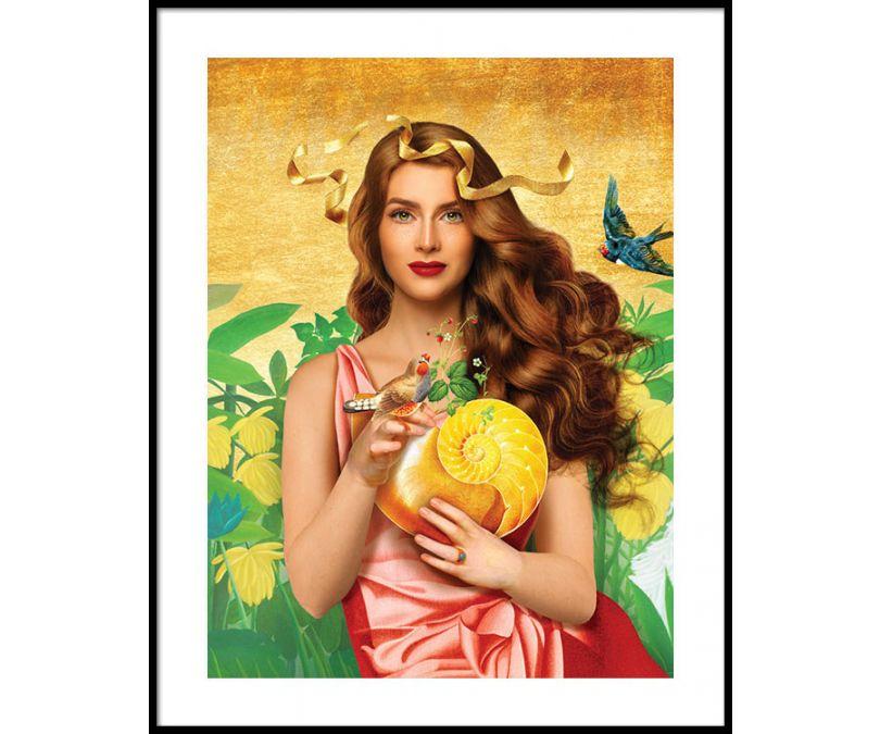 Plakat Dama z muszlą 30x40 cm