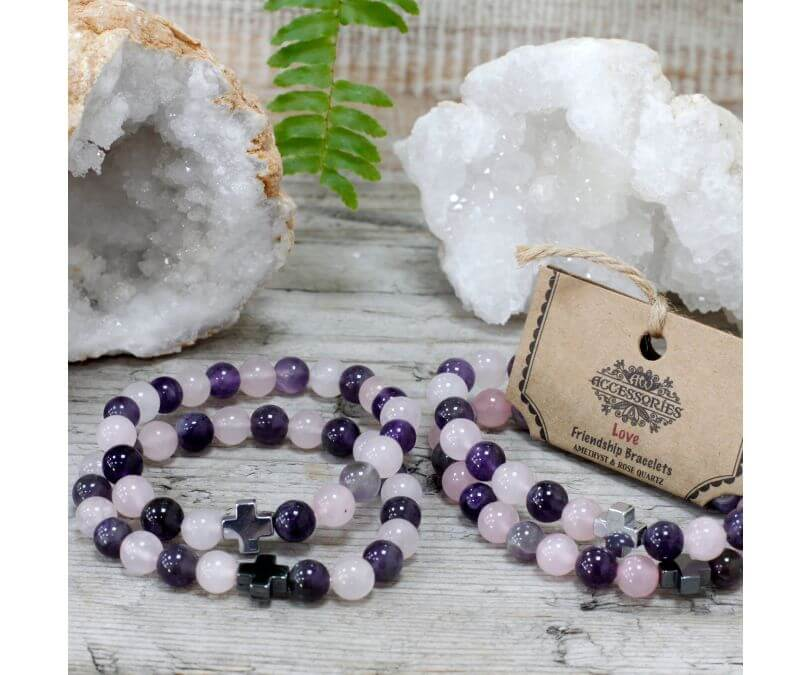 Bransoletki Miiłość z kamieniami - Ametyst i Różowy kwarc