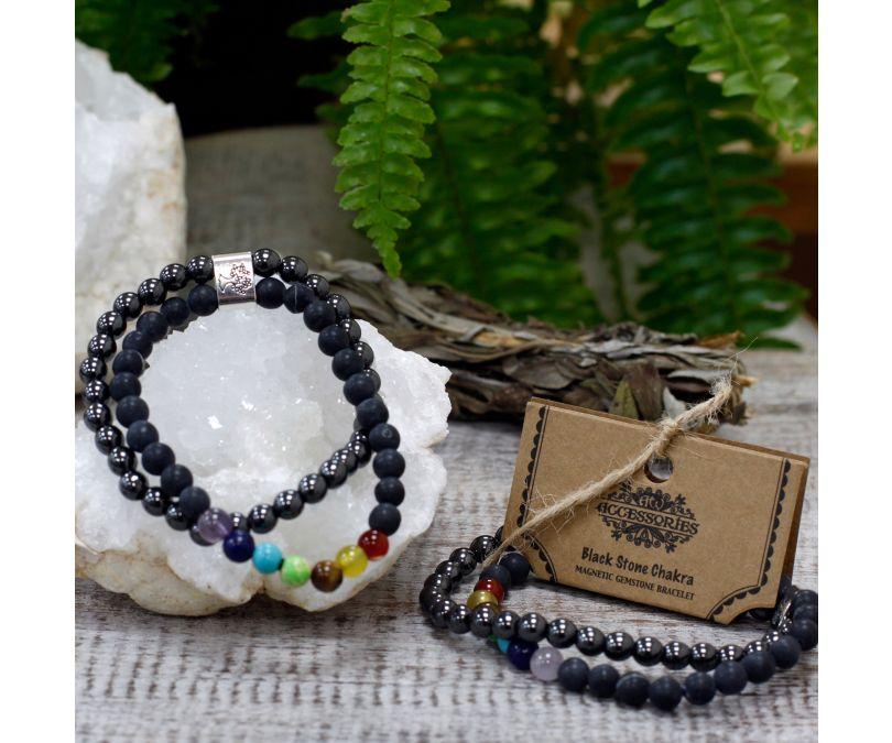 Magnetyczna Bransoletka z kamieniami - czarny kamień czakra-3