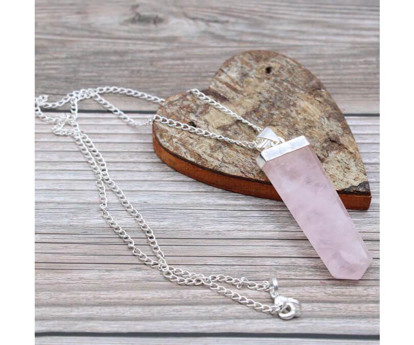 Wisiorek z Kamieniem Szlachetnym - Kwarc Różowy